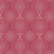 Lewis & Irene Threaded With Love - 5080 - Pins and Needles on Raspberry Red - A182.3 - Cotton Fabric